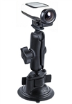 "Single 3.25"" Dia. Suction Cup Base with Twist Lock, Aluminum Standard Length Sized Arm with RAM-B-202U-GA63 Garmin VIRB Camera Adapter"