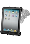 "Single 3.25"" Dia. Suction Cup Base with Twist Lock, Aluminum Standard  Sized Length Sized Arm and RAM-HOL-TAB8U Universal Cradle for 10"" Screen Tablets WITH or WITHOUT Large Heavy Duty Case/Cover/Skin Including: Apple iPads"