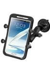 "Single 3.25"" Dia. Suction Cup Base with Twist Lock, Aluminum Standard Length Sized Arm and RAM-HOL-UN10BU  Large X-Grip Phone Holder (Fits Device Width 1.75"" to 4.5"")"