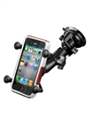 "Single 3.25"" Dia. Suction Cup Base with Twist Lock, Aluminum Standard Length Sized Arm and RAM-HOL-UN7BU  Universal X Grip Spring Loaded Holder (Fits Device Width .875"" to 3.25"" including iPhone 5/5S, iPhone 6, Galaxy S5, S6, etc)"