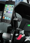Brake/Clutch Assembly Mount or U-Bolt Handlebar Mount with Standard Sized Arm and Apple RAM-HOL-AP10U Holder (iPod Touch 4th Gen WITHOUT Case or Cover)