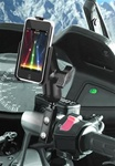 Brake/Clutch Assembly Mount or U-Bolt Handlebar Mount with Standard Sized Arm and Apple RAM-HOL-AP7U Holder (iPod Touch 2nd & 3rd Gen WITHOUT Case or Cover)