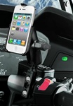 Brake/Clutch Assembly Mount or U-Bolt Handlebar Mount with Standard Sized Length Arm and RAM-HOL-AP9U Apple iPhone 4 Holder (4th Gen/4S WITHOUT Case or Cover)