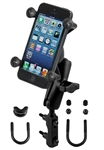 "Brake/Clutch Assembly Mount or U-Bolt Handlebar Mount with Standard Sized Length Arm and RAM-HOL-UN7BU Universal X Grip Spring Loaded Holder (Fits Device Width 1.875"" to 3.25"")"