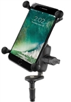 "Motorcycle Fork Stem Mount and SHORT Sized Length Arm and and RAM-HOL-UN10BU  Large X-Grip Phone Holder (Fits Device Width 1.75"" to 4.5"")"