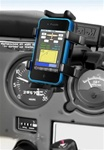 "U Clamp (Aviation Glare Shield) Fits Flat Edge 0.17"" to 1.12"" with Short Sized Arm and RAM-HOL-UN4U Univ. Finger Gripping Cradle (Fits Device Width 1.25"" to 3.5"" Including GPS, eTrex, 2 Way Radios, Smartphones with Cover/Case iPhone, Droid, etc.)"