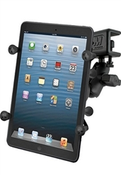 "U Clamp (Aviation Glare Shield) Fits Flat Edge 0.17"" to 1.12"" with SHORT Sized Arm and RAM-HOL-UN8BU SMALL Universal Tablet Holder fits MOST 7-8"" Screens Tablets (Fits Device Width 2.5"" to 5.75"")"