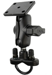 Handlebar Mount with Zinc U-Bolt (Fits .5 to 1.25 Dia.), SHORT Sized Length Arm and RAM-B-347U Rectangular AMPS Mounting Plate (Works with Garmin Zumo)