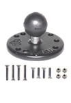 Universal 2.5 Inch Round Plate with 1.0 Inch Diameter Rubber Ball and Garmin Mounting Hardware for Selected Marine Devices