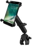 "SMALL Universal Tough Claw (Fits .625"" to 1.5"" Round Rail Dia. & 0 to 1.14"" Flat Surface), LONG Arm & RAM-HOL-UN10BU  Large X-Grip Phone Holder (Fits Device Width 1.75"" to 4.5"")"