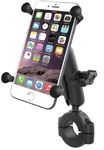 "RAM Torque Handlebar/Rail Base (Fits 1 1/8"" to 1 1/2"" Diameter) with 1"" Ball, Medium/Standard Sized Arm & RAM-HOL-UN10BU Universal X-Grip Holder for LARGER Phones (Max Width 4.5 inches)"