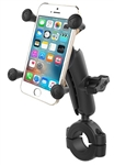 "RAM Torque Handlebar/Rail Base (Fits 1 1/8"" to 1.5"" Diameter) with 1"" Ball,  Medium/Standard Sized Length Arm & RAM-HOL-UN7BU Universal X Grip Holder for Phones (Fits Device Width 1.875"" to 3.25"")"