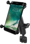 "RAM Mini Torque Handlebar/Rail Base (Fits 3/8"" to 5/8"" Diameter) with 1"" Ball, Medium/Standard Sized Arm & RAM-HOL-UN10BU Universal X-Grip Holder for LARGER Phones (Max Width 4.5 inches)"