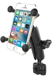 "RAM Mini Torque Handlebar/Rail Base (Fits 3/8"" to 5/8"" Diameter) with 1"" Ball,  Medium/Standard Sized Length Arm & RAM-HOL-UN7BU Universal X Grip Holder for Phones (Fits Device Width 1.875"" to 3.25"")"