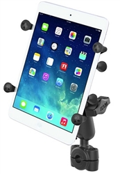 "RAM Mini Torque Handlebar/Rail Base (Fits 3/8"" to 5/8"" Diameter) with 1"" Ball,  Medium/Standard Sized Length Arm & RAM-HOL-UN8BU SMALL Universal Tablet Holder fits MOST 7-8"" Screens Tablets (Fits Device Width 2.5"" to 5.75"")"