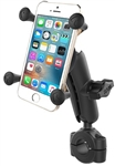 "RAM Torque Handlebar/Rail Base (Fits 3/4"" to 1"" Diameter) with 1"" Ball,  Medium/Standard Sized Length Arm & RAM-HOL-UN7BU Universal X Grip Holder for Phones (Fits Device Width 1.875"" to 3.25"")"