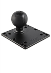 4.75 Inch Square VESA 75/100mm Compatible Plate (No Shoulder Washer Inserts) with Aluminum Post and 2.25 Inch Dia. Rubber Ball