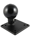 4.75 Inch Square VESA 4x75/100mm Compatible Plate with STEEL Post and 3.38 Inch Dia. Rubber Ball