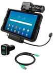RAM Locking Power & Data Cradle for Samsung Tab Active2 with USB Cigarette Charger