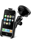 "Single 2.75"" Dia. Suction Cup Base with Twist Lock, PLASTIC Arm and RAM-HOL-AP6U Apple iPhone Holder (2nd & 3rd Gen 3G/3GS WITHOUT Case or Cover)"