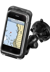"2.75"" Dia. Suction Cup Base with Twist Lock, Composite Arm and SMALL RAM-HOL-AQ7-1CU Aqua Box Pro 10 Waterproof Smartphone Holder"