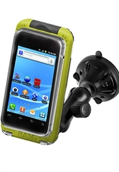 "2.75"" Dia. Suction Cup Base with Twist Lock, Composite Arm and LARGE RAM-HOL-AQ7-2CU Aqua Box Pro 20 Waterproof Smartphone Holder"