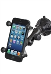 "Single 2.75"" Dia. Suction Cup Base with Twist Lock, PLASTIC Arm and RAM-HOL-UN7BU Universal X Grip Spring Loaded Holder (Fits Device Width .875"" to 3.25"" including iPhone 5/5S, iPhone 6, Galaxy S5, S6, etc)"