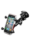 "Single 3.25"" Dia. Suction Cup Base with Twist Lock, COMPOSITE Standard Length Sized Arm and RAM-HOL-UN7BU  Universal X Grip Spring Loaded Holder (Fits Device Width .875"" to 3.25"" including iPhone 5/5S, iPhone 6, Galaxy S5, S6, etc)"
