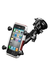"Single 3.25"" Dia. Suction Cup Base with Twist Lock, COMPOSITE Standard Length Sized Arm and RAM-HOL-UN7BU  Universal X Grip Spring Loaded Holder (Fits Device Width 1.875"" to 3.25"")"