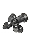 "Triple 3.25"" Dia. Suction Cup Base with Twist Lock, Standard Length Sized ""B"" Sized Arm and 2.5"" Dia. Plate with 1/4""-20 Male Camera Stud (Heavy Duty)"