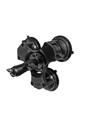 "Triple 3.25"" Dia. Suction Cup Base with Twist Lock, Standard Length Sized ""B"" Sized Arm with 1/4""-20 Male Camera Stud (Heavy Duty)"