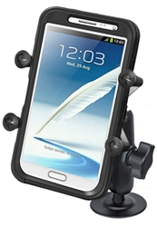 "2.5 Inch Adhesive Base with Composite Standard Sized Arm and RAM-HOL-UN10BU Large X-Grip Phone Holder (Fits Device Width 1.75"" to 4.5"")"
