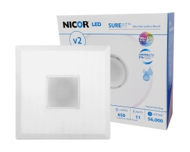 NICOR SureFit DLFv2 Square Surface Mount LED Downlight