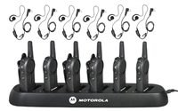 Motorola DLR1020 6 Pack Two Way Radio Bundle with Headsets and Bank Charger