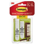3M Picture Hanging Strips - Removable L & M, White, 24/PK