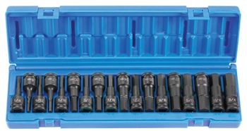 "1/2"" Drive 18 Pc. Combo Hex Driver SAE/Metric Set"