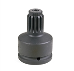 "Grey Pneumatic 6011A 1-1/2"" F x #5 Spline M Adapter w/ Lock Button"