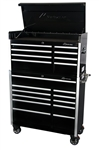 Montezuma BK4119C 41 19 -Drawer Top Chest & Roller Cabinet Toolbox Combo (black) (1-BK4108CH, 1-BK4111TC)