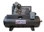 TWI Proline TWI-580H3 5 HP 80 Gallon Horizontal 2 Stage, 208-230/460V/3 Phase Compressor-Lincoln Motor