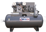 TWI Proline TWI-75120H3 7.5 HP 120 Gallon Horizontal 2 Stage, 208-230/460V/3 Phase Compressor-Lincoln Motor