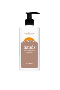 HANDS Magnesium-rich Hydrating Hand Therapy Cream, 8.45oz/250ml Pump Bottle (Aroma of Ginger, Cinnamon & Myrrh)