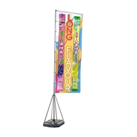 Jumbo 17' Outdoor Vertical Advertising Flag Stand with Water Base -- With Double Sided Print