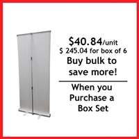 "Retractable Roll Up Banner Stand 33"" - Box Set [6 units/ box]"