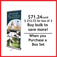 "Double Sided 33"" Retractable Roll Up Banner Stand - Box Set [ 4 units/box]"