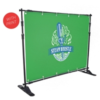 Telescopic Step & Repeat Banner Stand with 8' x 5' Vinyl Print
