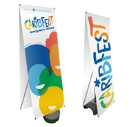 "Double Sided Outdoor X Banner Stand Water Base with 24""x 69"" Vinyl Print"