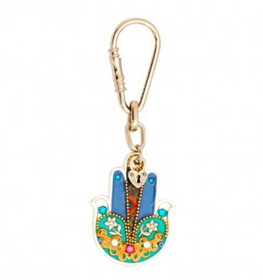 Colorful Hamsa Key Ring with Flowers by Ester Shahaf