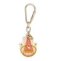 Pink Hamsa Key Ring with Dove by Ester Shahaf