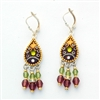 Purple & Green Drop Silver Earrings
