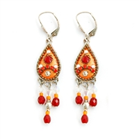 Orange Drop Silver Earrings